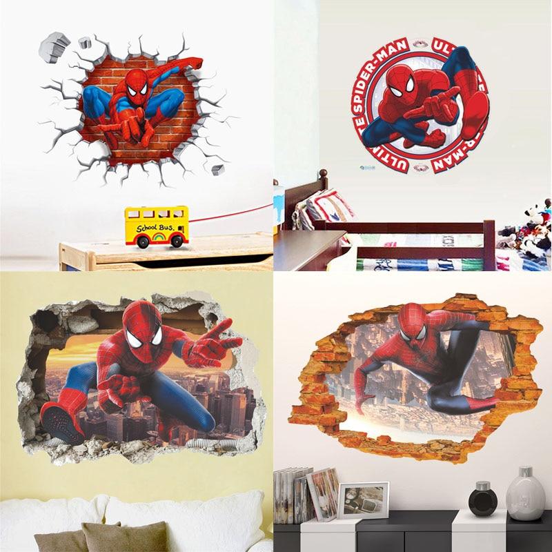 3d 스파이더 맨 벽 스티커 소년 방 장식 깨진 벽화 아트 diy 홈 데칼 슈퍼 영웅 영화 포스터