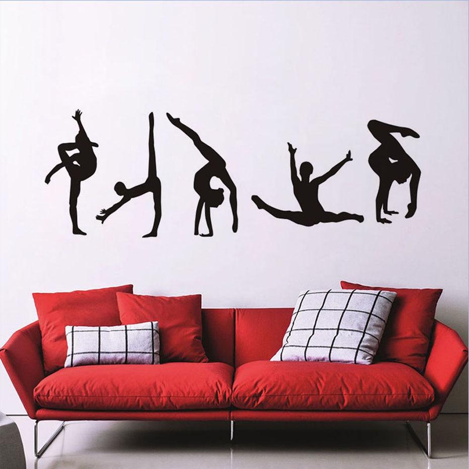 체조 포즈 현대 초상화 벽 스티커 거실 체육관 스포츠 문 홈 장식 비닐 셀프 접착 블랙 평면 바탕 화면