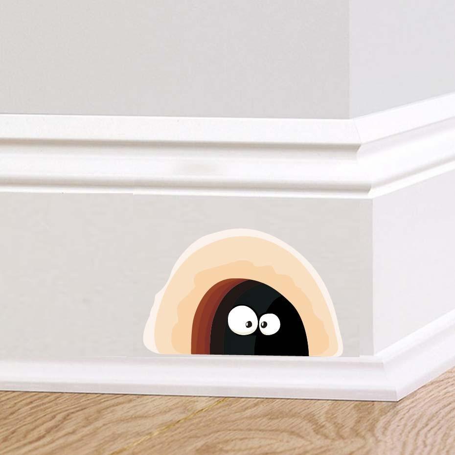 재미 있은 만화 마우스 구멍 벽 아트 스티커 어린이 방 보육 벽 장식 이동식 벽지 벽 데칼 주방 홈 장식