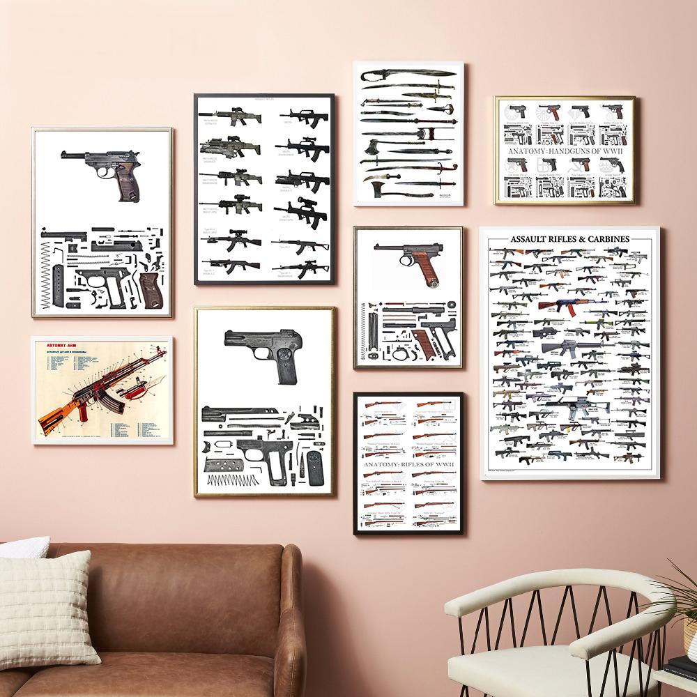 고화질 인쇄 세계 유명 총 포스터 군사 팬 흰색 골판지 포스터 장식 그림 벽 스티커 프레임 없음