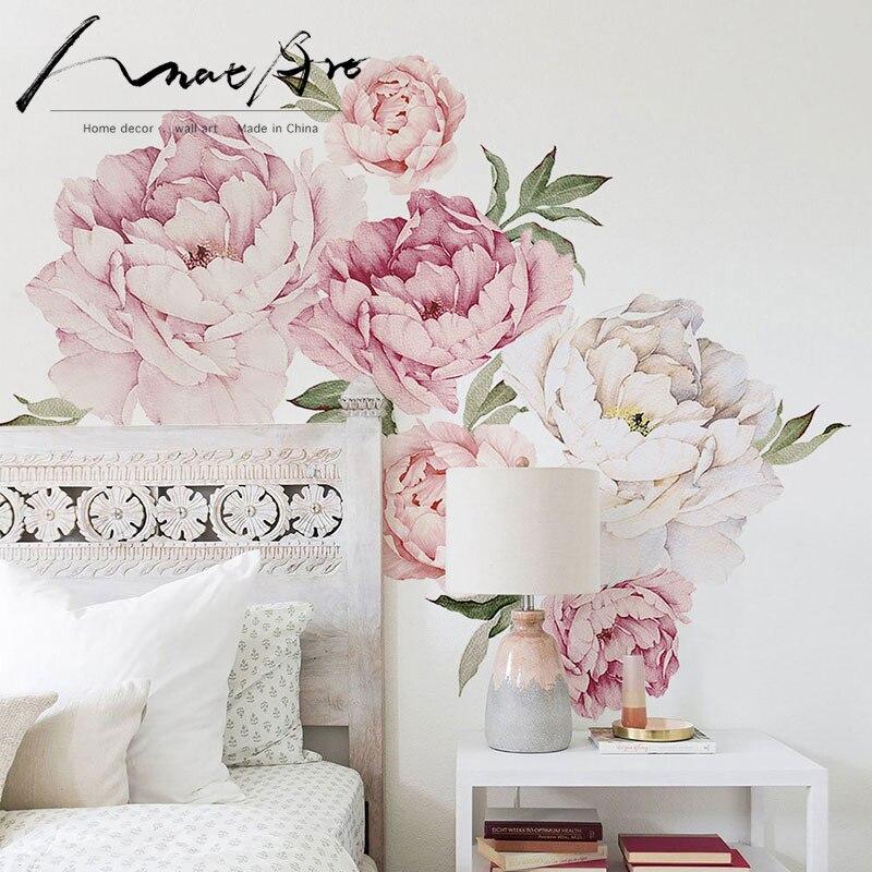 벽 스티커 모란 꽃 스티커 홈 인테리어 수채화 벽 장식 미술 어린이 방 장식 침실 장식 하우스 스티커