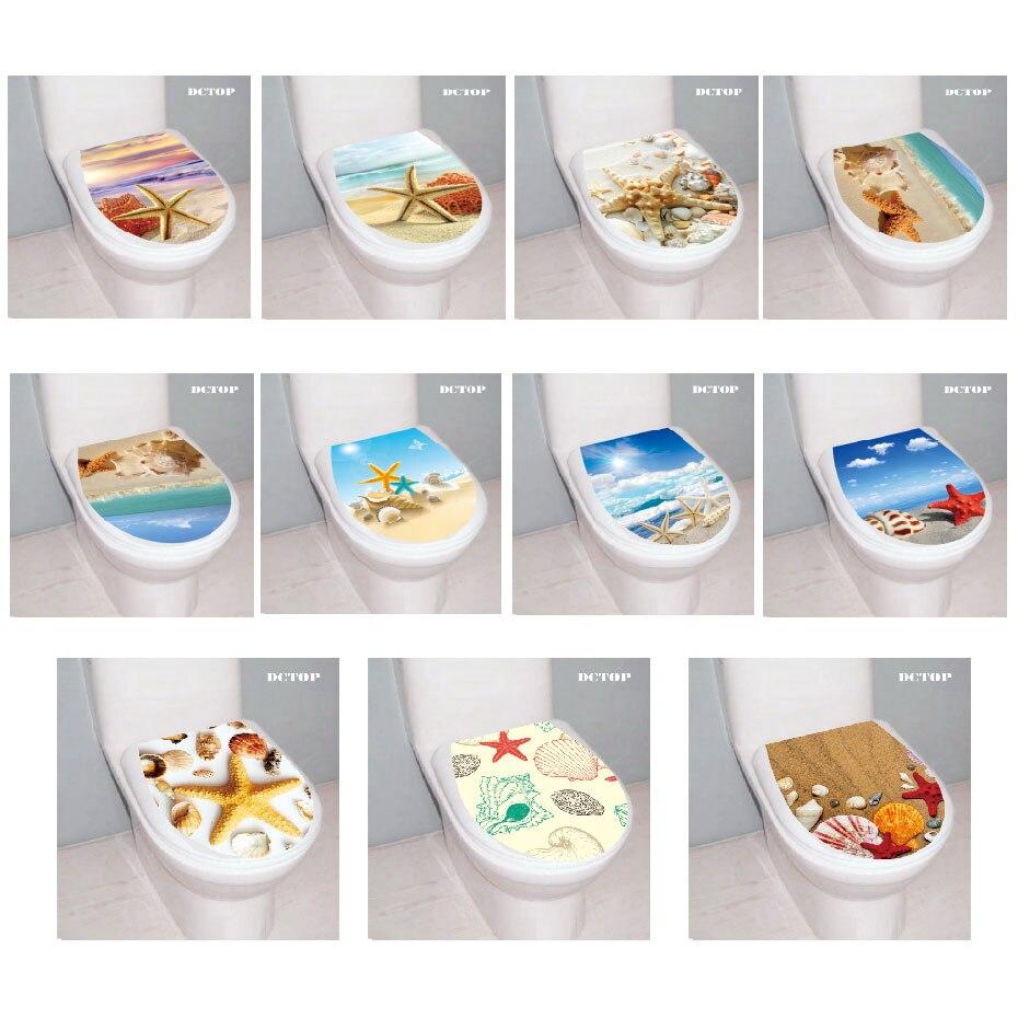 3D 불가사리 쉘 바다 해변 화장실 좌석 벽 스티커 동물 풍경 데칼 비닐 홈 장식 목욕 룸 WC 스티커 화장실 장식