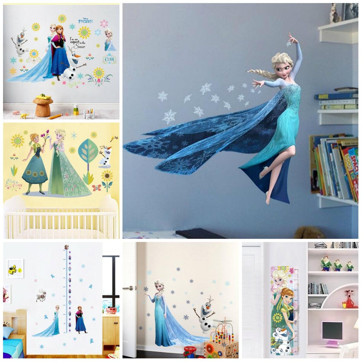 만화 diy 엘사 안나 냉동 공주 벽 스티커 여자 방 홈 인테리어 애니메이션 벽화 아트 영화 포스터 키즈 벽 데칼