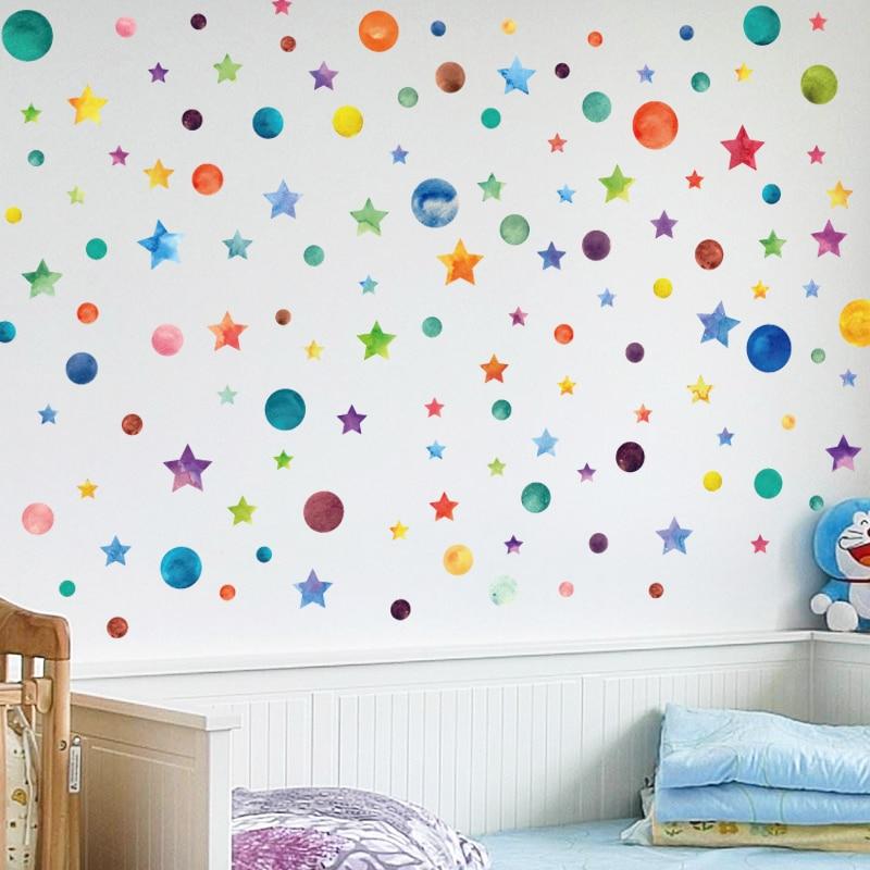레인보우 컬러 도트 스타 벽 스티커 어린이 방 어린이 홈 데코 크리 에이 티브 이동식 거실 diy 비닐 스티커