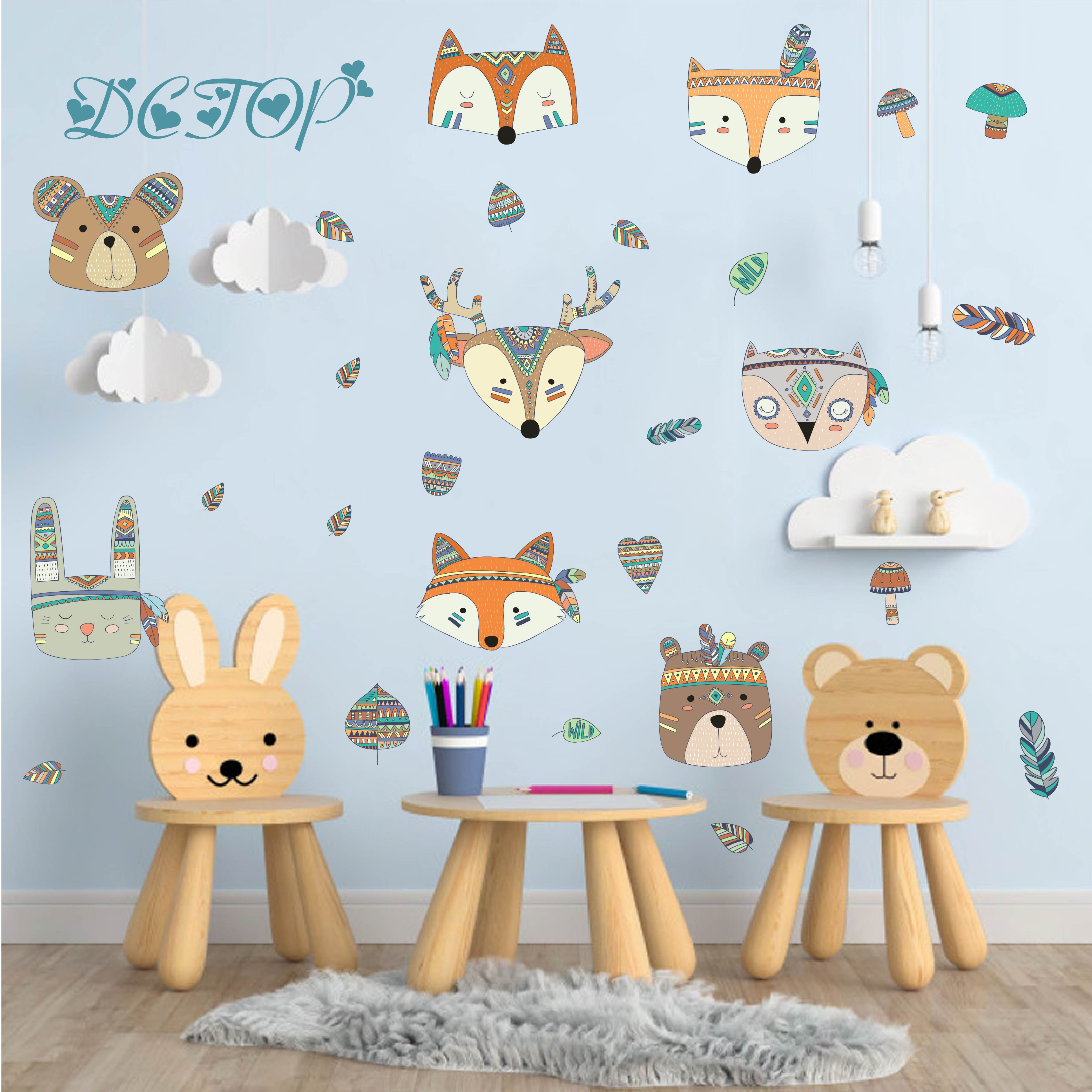 어린이 diy 컬러 우드랜드 부족 사슴 곰 토끼 폭스 벽 스티커 데칼 어린이 보육 룸 장식 비닐 홈 벽화