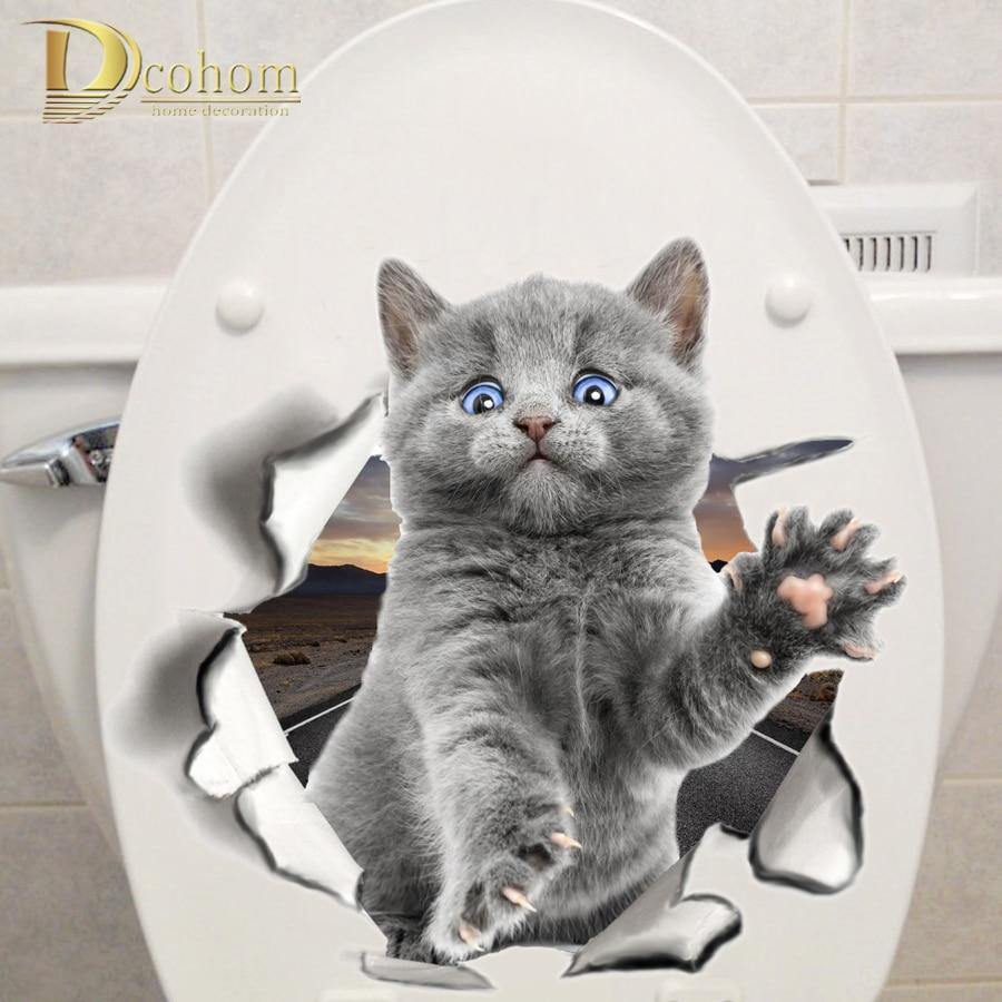 다양 한 귀여운 새끼 고양이 동물 만화 고양이 벽 스티커 3d 생생한 아기 아이 방 욕실 decors 필 & 스틱 화장실 스티커