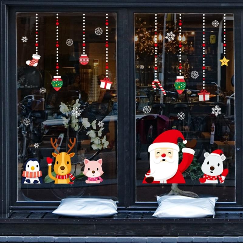 2020 메리 크리스마스 벽 스티커 창 유리 축제 벽 전사 술 산타 벽화 새해 크리스마스 장식 홈 장식